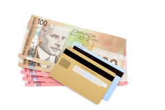 Credit card and canadian dollar Stock Image