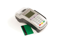 Credit card and card reader on white background Stock Images