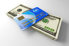 Credit Card and Cash Royalty Free Stock Image