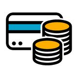 Credit Card Cash Coins Icon. Eps10 Vector stock illustration