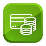 Credit Card Cash Coins Icon. Green Button. Eps10 Vector royalty free illustration