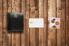 Credit card, cash euro and wallet Stock Image