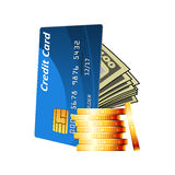 Credit card with cash and golden coins Stock Photo