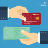 Credit card and cash payment flat design vector icon Stock Images