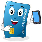 Credit Card with Cell Phone Character Stock Photos