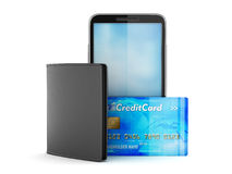 Credit card, cellular phone and wallet Stock Images