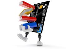Credit card character carrying books. Isolated on white background Stock Image