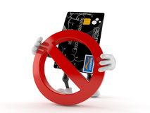 Credit card character with forbidden sign. Isolated on white background Stock Photos