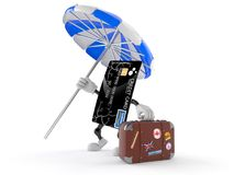 Credit card character with luggage Royalty Free Stock Photography