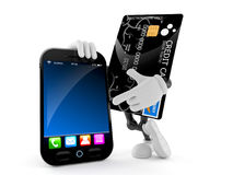 Credit card character with smart phone. Isolated on white background Royalty Free Stock Photo