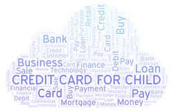 Credit Card For Child word cloud. Wordcloud made with text only stock illustration