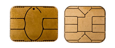 Credit card chip. Close up isolated Stock Photos