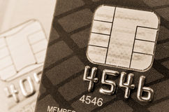 Credit card and chip macro Stock Photo