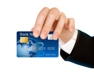 Credit card with chip in woman s hand. Royalty Free Stock Photos