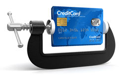 Credit Card in clamp (clipping path included) Stock Photos