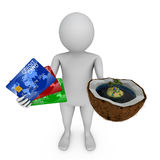 Credit card and coconut island Royalty Free Stock Image