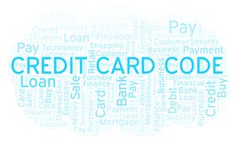 Credit Card Code word cloud. Wordcloud made with text only vector illustration
