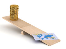 Credit card and coins on scales. Stock Photos