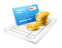 Credit card and coins on the sheet Royalty Free Stock Photos