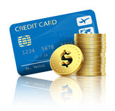 Credit card and coins Royalty Free Stock Photography