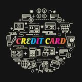 Credit card colorful gradient with line icons set. Vector editable stroke Stock Photo