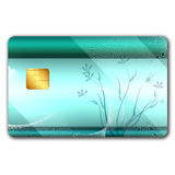 Credit card with colorful oranaments. On it and microchip Stock Photos