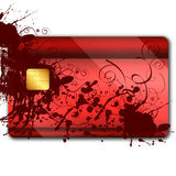 Credit card with colorful oranaments. On it and microchip Stock Photography