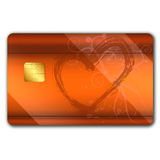 Credit card with colorful oranaments. Credit card with colorful ornaments on it and microchip Royalty Free Stock Image