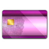 Credit card with colorful oranaments. Credit card with colorful ornaments on it and microchip Stock Image