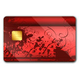 Credit card with colorful oranaments. Credit card with colorful ornaments on it and microchip Stock Photos