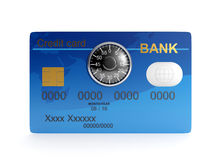 Credit card and combination. 3d illustration: Credit card and combination lock. Protecting your money Royalty Free Stock Photography