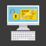 Credit card and computer icon. Bank and Money design. Vector gra Stock Images