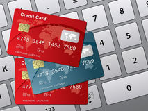 Credit card and computer keyboard Stock Photography