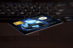Credit card on computer keyboard Royalty Free Stock Image