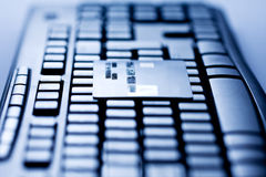 Credit Card on Computer Keyboard Royalty Free Stock Photo