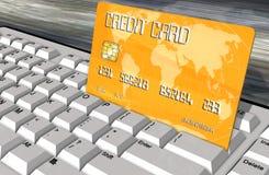 Credit card on computer keyboard closeup Royalty Free Stock Image