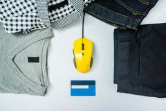 Credit card computer mouse online shopping concept isolated whit. E royalty free stock photos