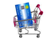 Credit Card Concept. Isolate credit card on shopping trolley or cart, online payment, electronic commerce financial concept on white background Royalty Free Stock Images
