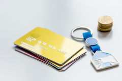 Credit card concept mortgag for new home on white background Royalty Free Stock Photography