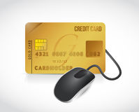 Credit card connected to a mouse. illustration Stock Photos