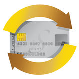 Credit card constant consumerism concept. Illustration design Royalty Free Stock Image