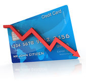 Credit Card Crash. Credit card with a declining graph Royalty Free Stock Image
