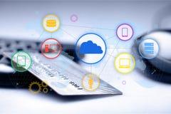 Credit card. Internet e-commerce paying buying shopping banking royalty free illustration