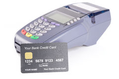 Credit card with credit card machine Royalty Free Stock Photography