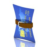 Credit card crisis. Credit card and belt - crisis concept Royalty Free Stock Image