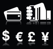 Credit card, currency signs white icons on black Royalty Free Stock Photos