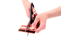 Credit card cut Stock Images