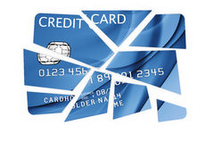 Credit card cut into pieces Stock Image