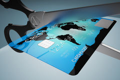 Credit card cutting. Royalty Free Stock Images