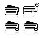 Credit Card, CVV code black icons set with shadow Royalty Free Stock Photography